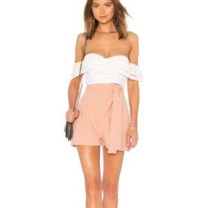 NEW Rachel Pally Nude Linen Wrap High Waist Shorts